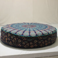Blue Indian Mandala Floor Pillow Large Bohemian Round Meditation Cushion Cover