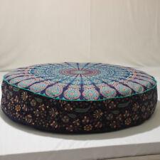 "35""Blue Indian Mandala Floor Pillow Large Bohemian Round Meditation Cushion Cove"