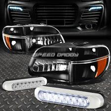 BLACK HEADLIGHT+AMBER CORNER+8 LED GRILL FOG LAMPS FOR 95-01 FORD EXPLORER