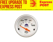 "Mopar 2-1/16"" Oil Pressure Gauge 0-100 psi White Face with Mopar Logo"