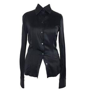 Pinko Silk Stretch Black Blouse Button Up Shirt Business Office Secretary 4/6 UK