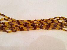 Collar Amarillo Mostaza Marrón largas y delgadas con Cuentas Perla 80s Vintage