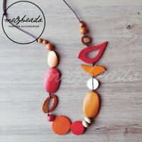Red Orange Bird Oval Wooden Bead Necklace Fashion Women Long Eclectic