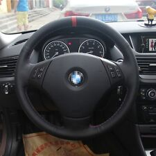 Black&Red Leather Steering Wheel Stitch on Wrap Cover For BMW 320i/X1  FT069