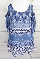 NWT New Directions Top Womens Small S Blue Striped Cold Shoulder 3/4 Sleeve