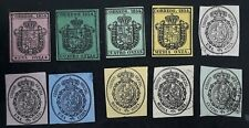 RARE 1854- Spain lot of 10 Coat of Arms Official Imperf stamps Used