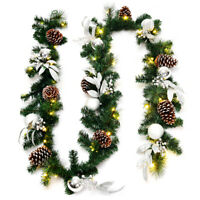 Costway 9ft Pre-Lit Artificial Christmas Garland w/ Mixed Decorations LED Light