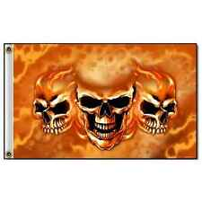 Burn It Up Skulls Hot Leathers Flag 3' x 5' 100% Polyester with Grommets #1053