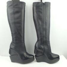 AllSaints Leather Boots Size UK 3 Eur 36 Womens Split Wedge Platform Black Boots