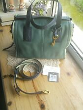 Fossil Emma Satchel in Arctic Mist Navy Green Leather bag