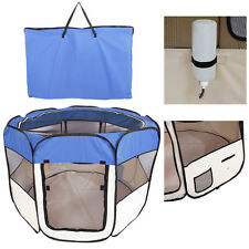 "57"" Dog Kennel Pet Fence Soft  Playpen Exercise Pen Folding Crate Cage Blue"