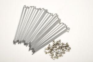 kit 36 spokes and nipples polished steel diameter 3,5 mm length 225 mm bend 90°