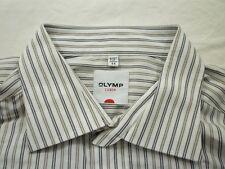 E7799 Olymp Luxor Businesshemd Kombimanschette 44 weiß, beige, braun gestreift