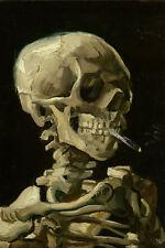 Large Skeleton With Cigarette Anti Smoking Van Gogh Painting Canvas Art Print