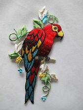 """#3541 5 1/2""""H Macaw Parrots Bird w/Flower Embroidery Iron On Applique Patch"""