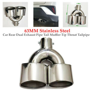 63MM Stainless Steel Car Dual Exhaust Pipe Tail Muffler Tip Throat Universal