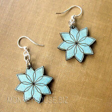 Vector Blossoms Sky Blue Laser Cut Wood Earrings Green Tree COMBINED SHIPPING