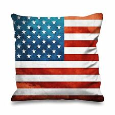 Stars and Stripes Flag Faux Silk 45cm x 45cm Sofa Cushion - USA America