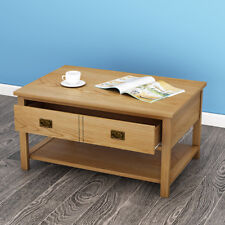 Wooden Original Solid Oak Coffee Table 2 Drawers Both Side with Shelf  Rectangle