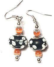 Short Silver Black Orange Earrings Drop Dangle Cat Eye Glass Beads Pierced