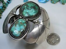 """2.75""""Wide 65g 1970s NAVAJO Platero CARICO LAKE TURQUOISE STERLING signed CUFF 😍"""