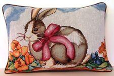 Rabbit- Brown & White Rabbit w/ Pink Bow, Orange Flowers, Tapestry Pillow New