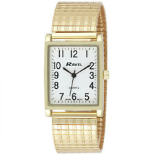 Ravel Gents Rectangular Expander Gold Tone Watch Clear White Face Big Numbers