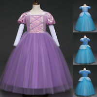 Kids Cinderella Princess Costume Party Fancy Dress Girls Tutu Tulle Dresses 3-9Y