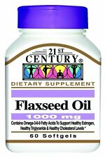 21st Century Flaxseed Oil 1000 Mg Softgels, 60-Count -FREE WORLDWIDE SHIPPING-