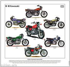 CLASSIC KAWASAKI MOTORCYCLES - FINE ART PRINT  Z1000 Z650 W1 Z1 H1 H2 A7 Avenger