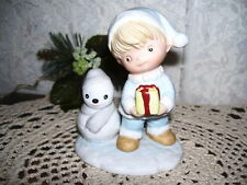 Child With Gift & Snowman Homco Figurine