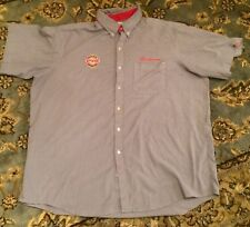 Budweiser Employee Uniform Shirt Pearlstine Distributors Button Up Neck 19 1/2