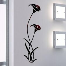 3D Diy Black Flower Shape Acrylic Wall Sticker Modern Stickers Decoration