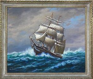 Vintage Signed WM. PASKELL Nautical Ocean Sailing Ship Seascape Oil Painting