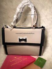 NWT Kate Spade $458 Hazel Court Mason LG Shoulder Bag w/Bow-MousseFrosting/BLK