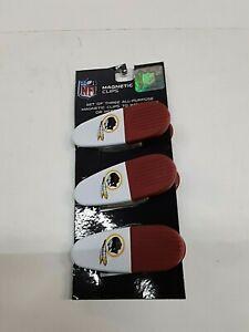 Washington Redskins NFL Set of 3  Magnetic Bag Clips