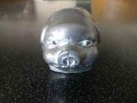 ANTIQUE METAL PIG PAPERWEIGHT Vintage ART DECO CAST PEWTER