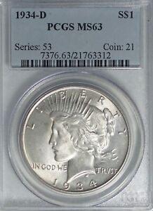 1934-D Peace Dollar PCGS MS63   #PJ616