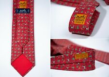 """Men's HERMES 100% Silk Christmas Red Tie - """"Lad de Noel Twill Necktie"""