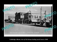 OLD LARGE HISTORIC PHOTO OF LETHBRIDGE ALBERTA CANADA, 3rd AVE & STORES c1940