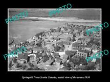 OLD LARGE HISTORIC PHOTO SPRINGHILL NOVA SCOTIA CANADA, TOWN AERIAL VIEW c1930