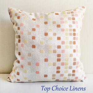 45cm x 45cm Home Decor Pink/Yellow/Tan Squares Cushion Cover Pillow Case