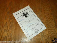 WW2 German Fallschirmjager Knights Cross Autographs x8 Grouping Card - VERY NICE
