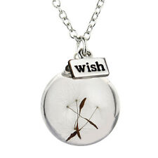 Dandelion Seed Glass MAKE A WISH Bottle Necklace silver chain Gift Pendant UK
