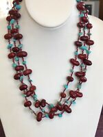Turquoise Blue Stone Red Kidney Bean  Bohemian Beaded Bib Statement Necklace 20""