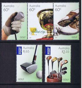 Australian Decimal Stamps 2011 Golf, Complete Set 5, Inc Strip 3, MNH