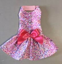 Dog Clothes Harness Dress Floral Print W/Bow Size: 6 XS