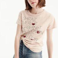 J. Crew Blush Pink Shiraz Merlot Cabernet Wine Graphic Tee T-Shirt S Small
