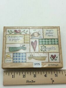 """Stamps Happen Inc. Angels Gather Here Wooden Rubber Stamp 90139 5.5"""" Collectible"""