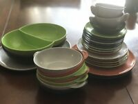 Color Flyte Branchell Melmac Dishes Dinnerware Bowls Plates Serving 30 Pieces